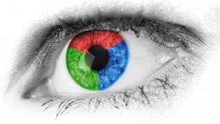 要約 赤 緑 青 プライマリ 色 クローズアップ 詳細 目 眼球 まつげ 女性 人間