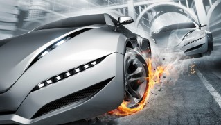 fast_car_with_tire_on_fire-wide