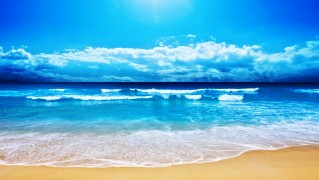 Blue-Sky-and-Water-with-Yellow-Sand