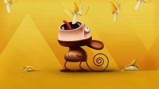 Cartoon-Character-Eating-Falling-Bananas