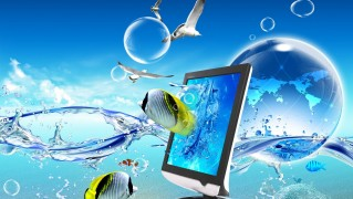 Screen-with-Swimming-Fish-Background