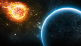 Asteroid-of-Fire-Hitting-Planet
