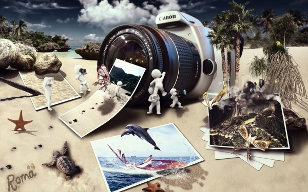 Beach-with-Camera-Photos-Creative-Design