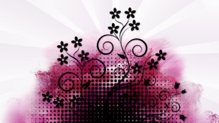 Black-Floral-Ornament-on-Purple-Background