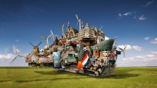 City-in-the-Shape-of-Ship-on-Green-Field