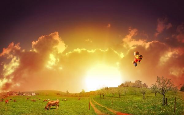 Colorful-Sky-Landcape-View-with-Farm