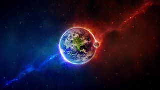 Digital-Planet-Earth-in-Blue-and-Red-Halves