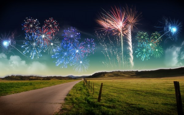 Fireworks-in-Sky-with-Beautiful-Landscape-View