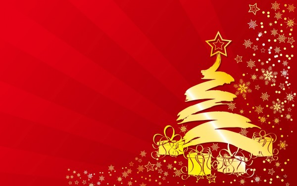 Golden-Christmas-Tree-on-Red-Background