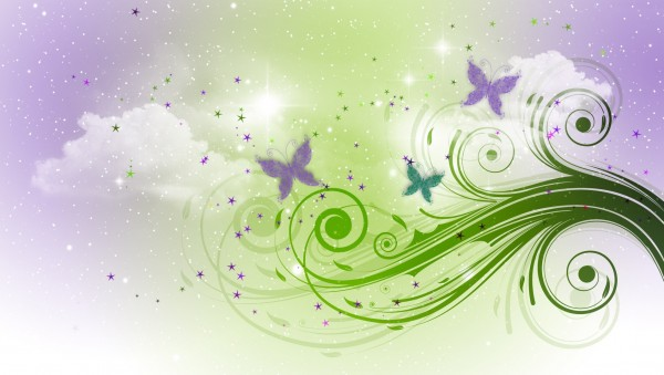 Green-Floral-Ornament-on-Purple-Clouds
