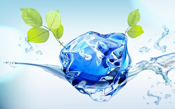 Ice-Cube-with-Green-Leaves-in-Water