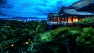 Kyoto-Forest-House-with-Blue-Dark-Sky-After-Sunset