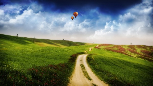 Landscape-with-Air-Balloons-in-the-Sky