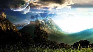 Mountains-Peaks-with-Large-Moons-in-the-Sky