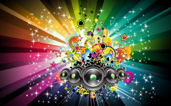 Music-Speakers-on-Abstract-Rainbow-Background