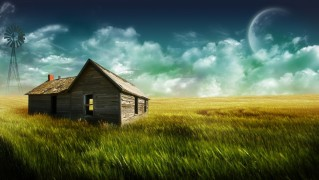 Old-Wooden-House-with-Green-Field-Landscape
