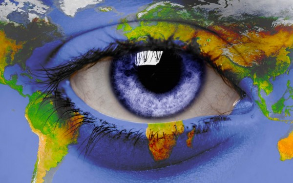 Open-Human-Eye-with-World-Map