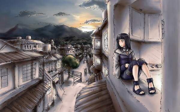 Painting-of-Girl-Sitting-on-Her-Window-at-Night