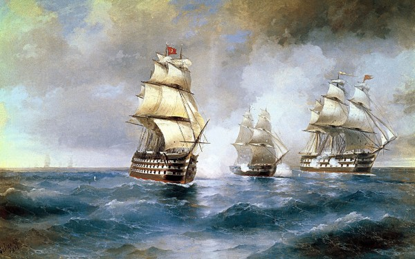 Painting-of-Ships-in-the-Sea