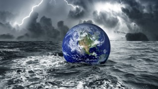 Planet-Earth-Floating-on-Stromy-Water-Surface
