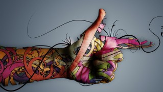 Pointed-Finger-with-Abstract-Drawing-Designs