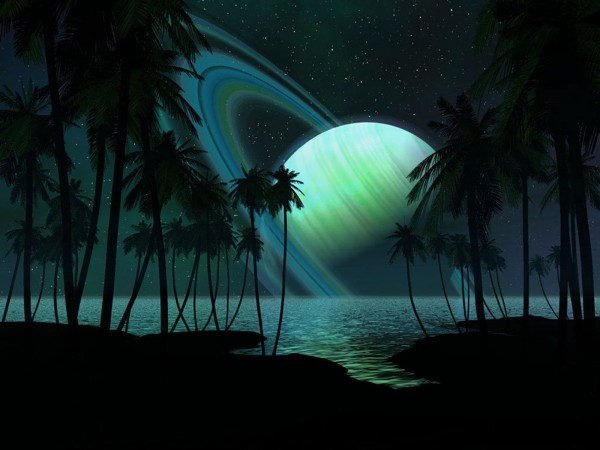 Saturn-Planet-Rings-with-Palm-Trees-at-Night