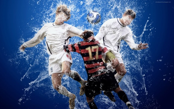 Soccer-Player-Hits-Ball-With-Head-with-Water-Splash