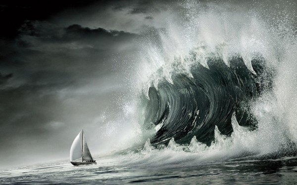 Sotrm-Big-Wave-and-Small-Boat-in-the-Sea