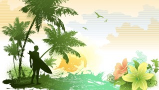 Surfer-on-Island-with-Palm-Trees