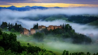 Village-and-Forest-Fog-in-the-Morning