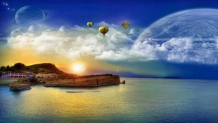 Village-on-the-Sea-with-Moons-in-the-Sky
